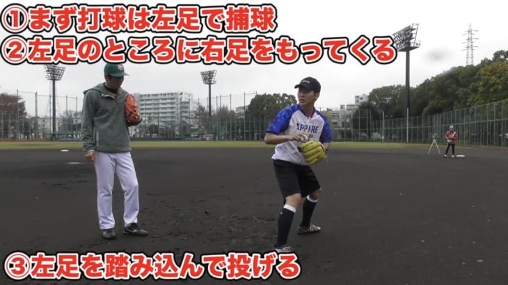 バント処理で大事なのは足のステップ!ステップを覚えれば送球も安定する。